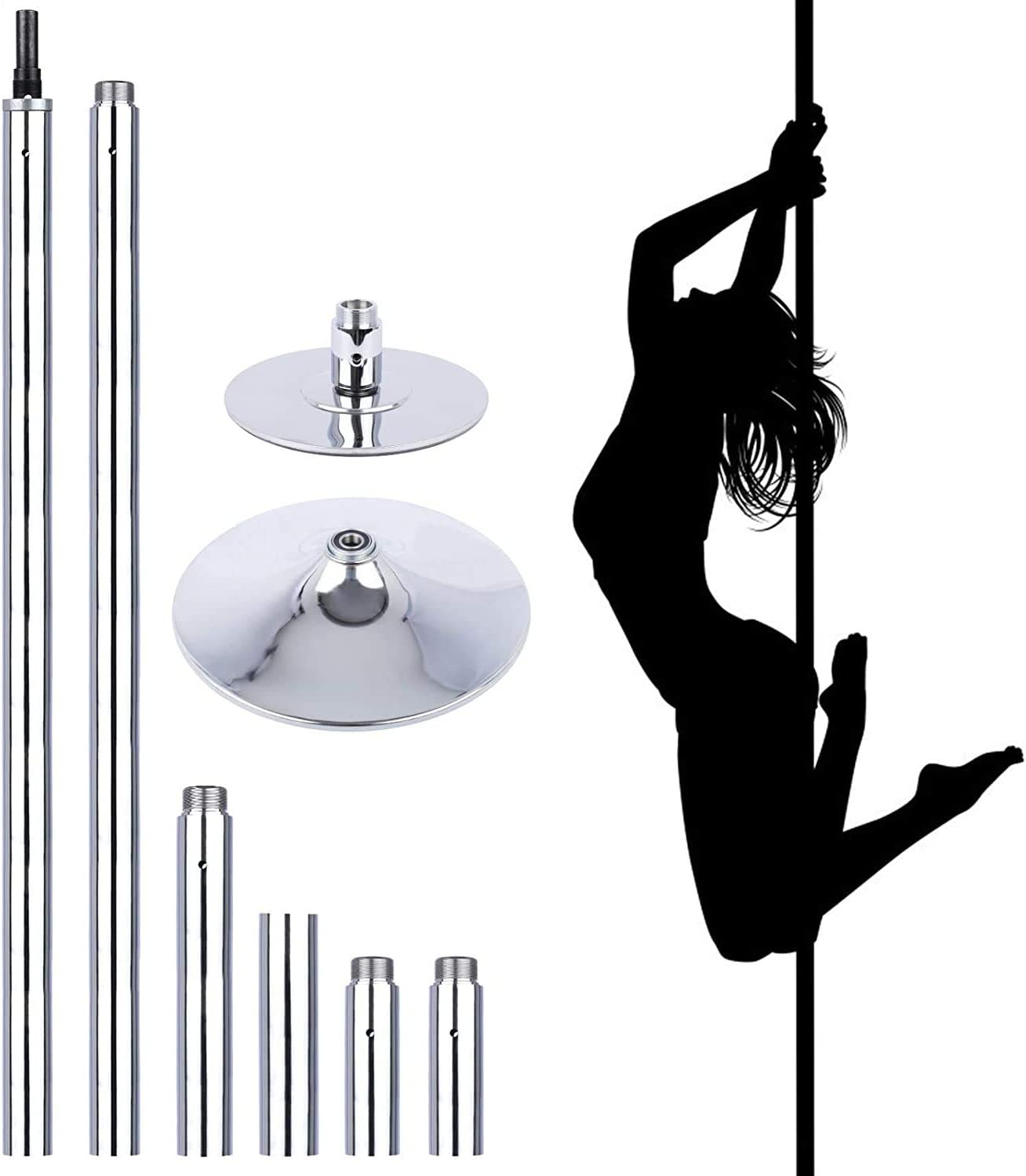 N/D Professional Stripper Pole Portable Removable Spinning Static Dancing Pole 45mm Height Adjustable Dance Pole Kit for Exercise Club Party Pub Home Fitness
