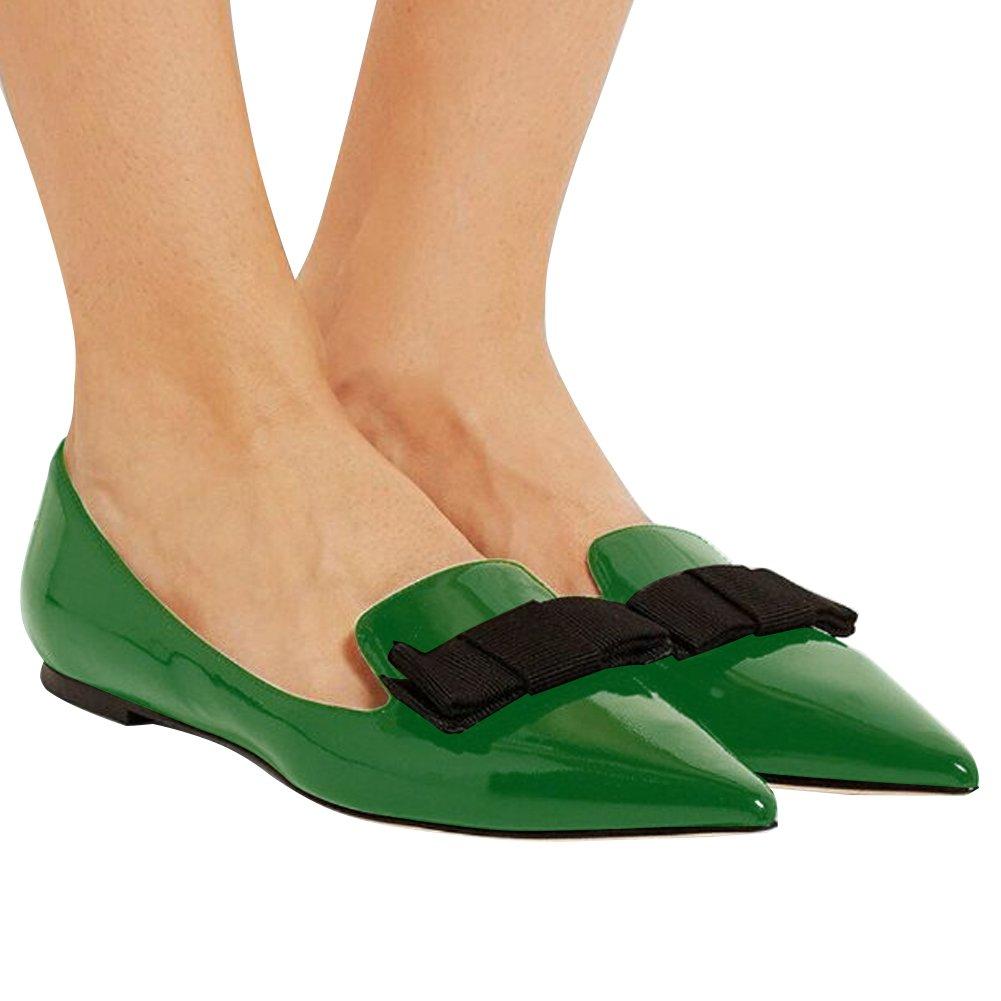 Eldof Women's Flats, Pointed Leather Toe Flats Pumps, Patent Leather Pointed Flats Pumps, Walking Dress Office Classic Comfortable Flats B07DHKGHST 7.5 B(M) US|Green ff5d88
