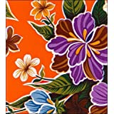 """Round Oilcloth Tablecloths in Hawaii Collection - Orange - 47"""""""