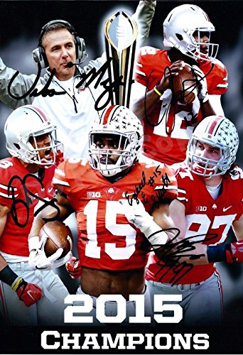 2015 Ohio State National Championship Coach Meyer, Jones, Smith, Elliott, Bosa Autograph Replica Poster - Ohio State Buckeyes