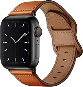 KYISGOS Compatible with iWatch Band 44mm 42mm, Genuine Leather Replacement Band Strap Compatible with Apple Watch Series 6 5 4 3 2 1 SE 42mm 44mm, Brown Band with Black Adapter