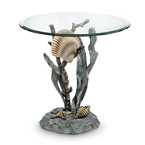 Spi Aluminum End Tables 34655 Spi Aluminum Shells And Seagrass End Table 22  X 21 X