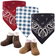 Hudson Baby Baby Bandana Bib and Socks Set, 5 Piece, Boy Western, 0-9 Months