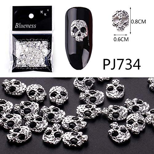 (Gold Silver Copper 100Pcs/Pack Metal Hollow Studs For Nails Scrub Design Charms Manicure 3D Nail Art Decorations PJ734-100Pcs )