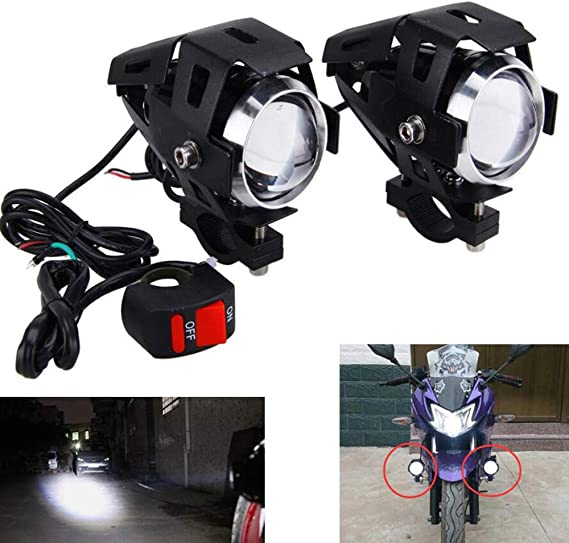 Motorcycle LED Fog Lights 20W 3000LM Spot Driving Light for Motorcycle ATV Tractor Waterroof High Low Beam Function Headlights for Bike TUV 1 Pair