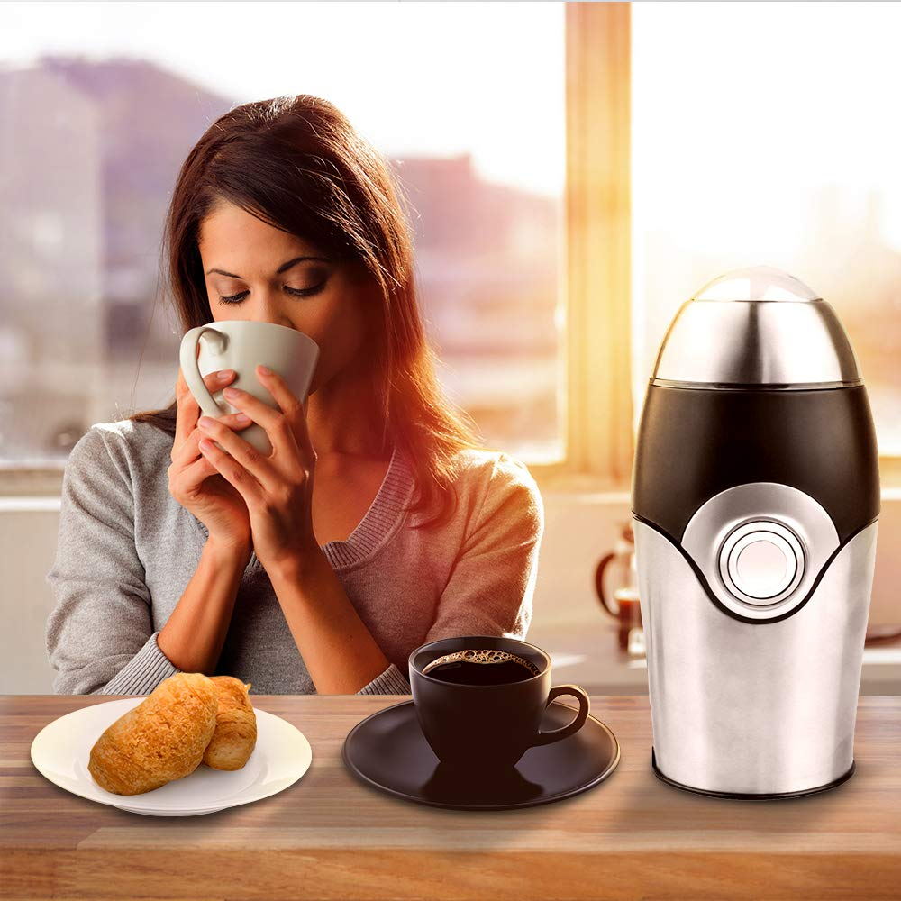 Electric Coffee Grinder,1.41oz,200W,Stainless Steel Powder Grinding Machine Blade Mill for Coffee Bean,Nuts Herbs,Grains,Spices,Sugar
