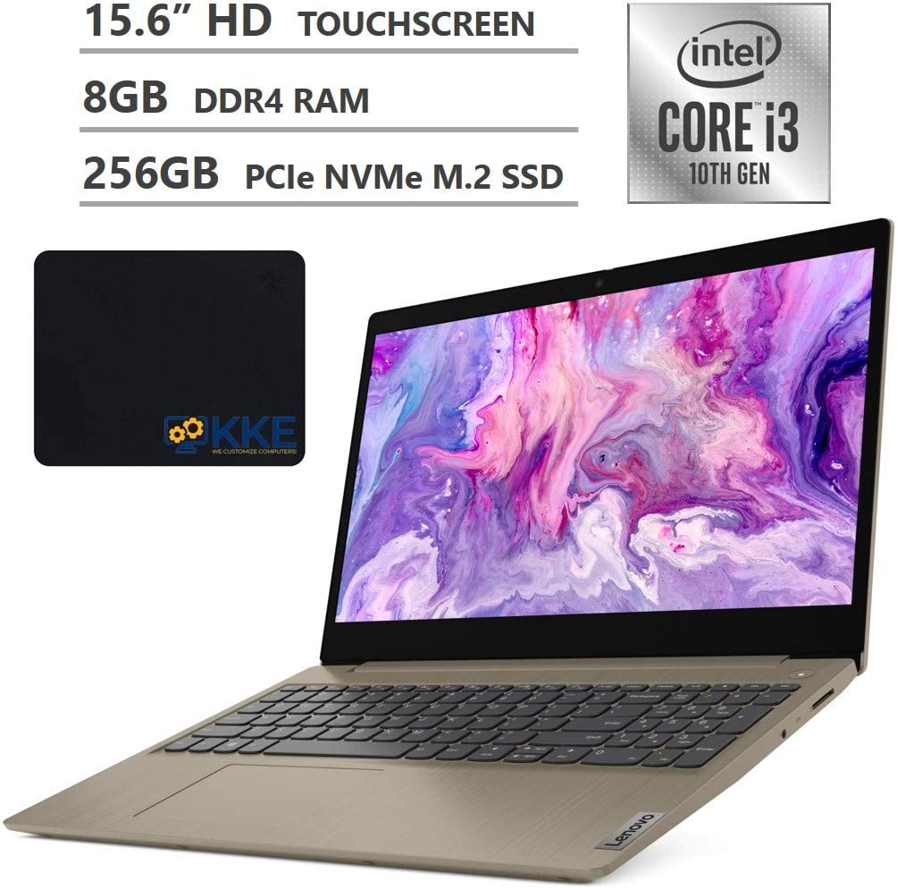 "2020 Newest Lenovo Ideapad 3 (S145 Updated Version) Laptop, 15.6"" HD Touchscreen, 10th Gen Intel Core i3-1005G1 Processor, 8GB Memory, 256GB SSD, HDMI, Wi-Fi, Webcam, Windows 10, KKE Mousepad, Almond"