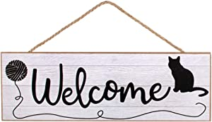 "Craig Bachman 15"" Wooden Sign: Welcome Cat with Yarn: AP802010"