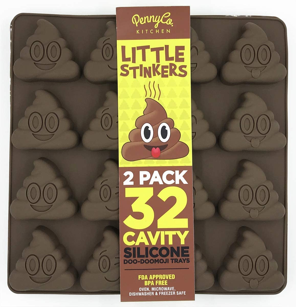 Poo Emoji Silicone Molds 32 Cavity 2 Pack Set by PennyCo Kitchen