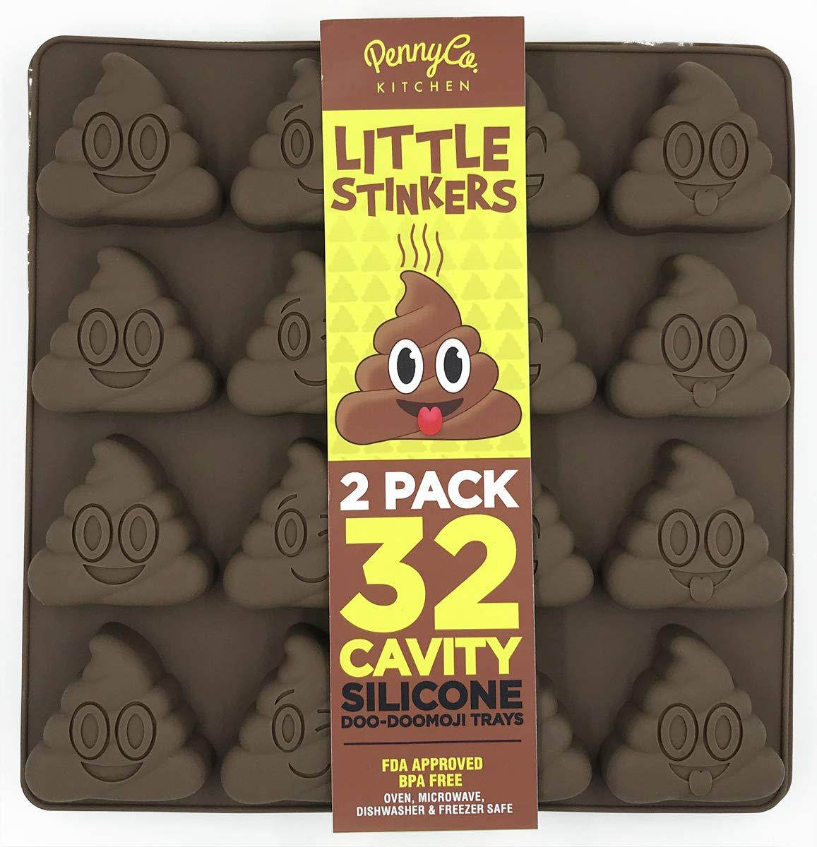 Poo Emoji Silicone Molds 32 Cavity 2 Pack Set by PennyCo Kitchen by PennyCo Kitchen