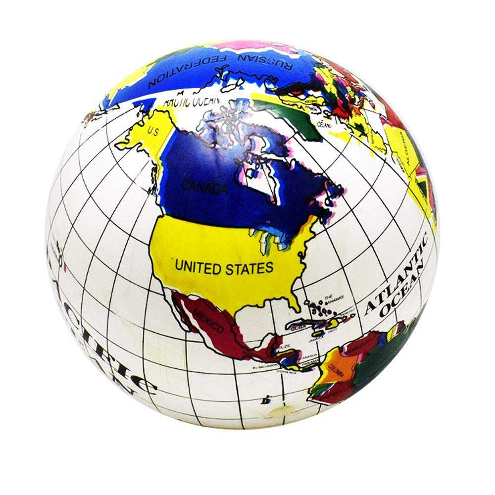 IAMUP Children Toys Inflatable Earth Map Simulates Leather Ball Summer Toys for Children Learning Funny Toys White