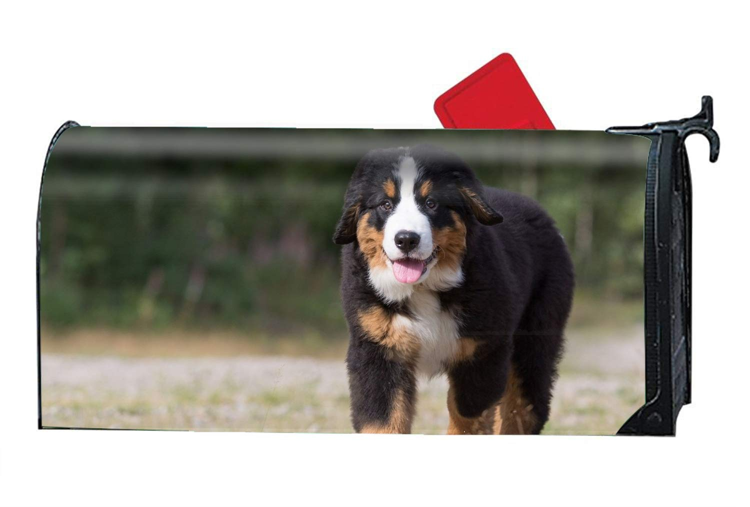 FANMIL 9X21 Inches Animal Sennenhund Dogs Bernese Mountain Dog Puppy Mailbox Cover- Magnetic Strips for Steel Standard Rural Mailbox