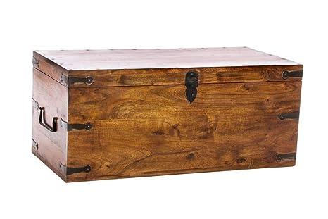 Panca Contenitore Legno : Baule panca cassapanca contenitore in legno massello etnico