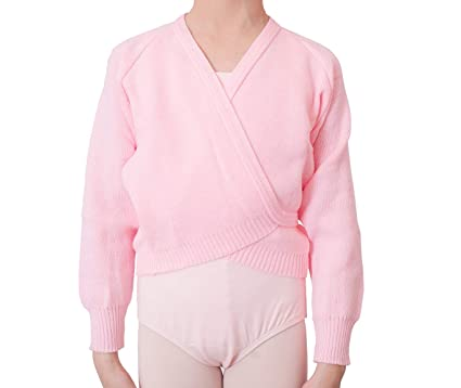 40187d612 DANCEYOU Girl's Basic Warm Up Sweater for Ballet, Long Sleeve Knit Tie Wrap  Top Dance