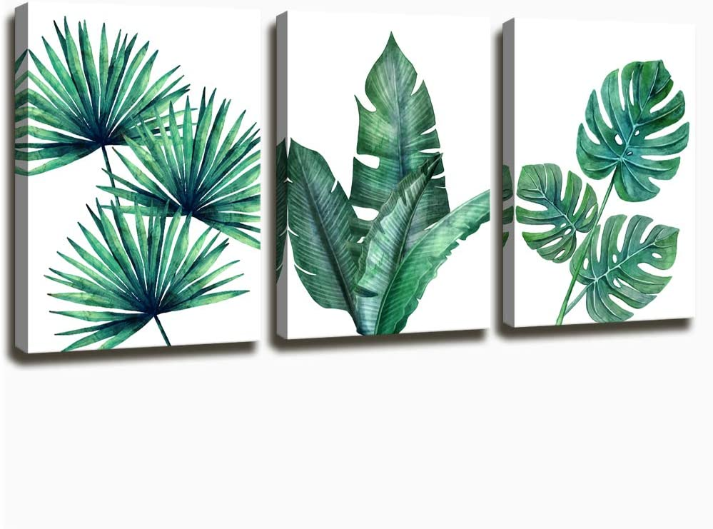 Botanical Prints Wall Art for Bathrooms, 3 Pieces Framed Canvas Tropical Plants Pictures Minimalist Watercolor Painting, Palm Banana Monstera Green Leaf Wall Decor for Office Bedroom Living Room