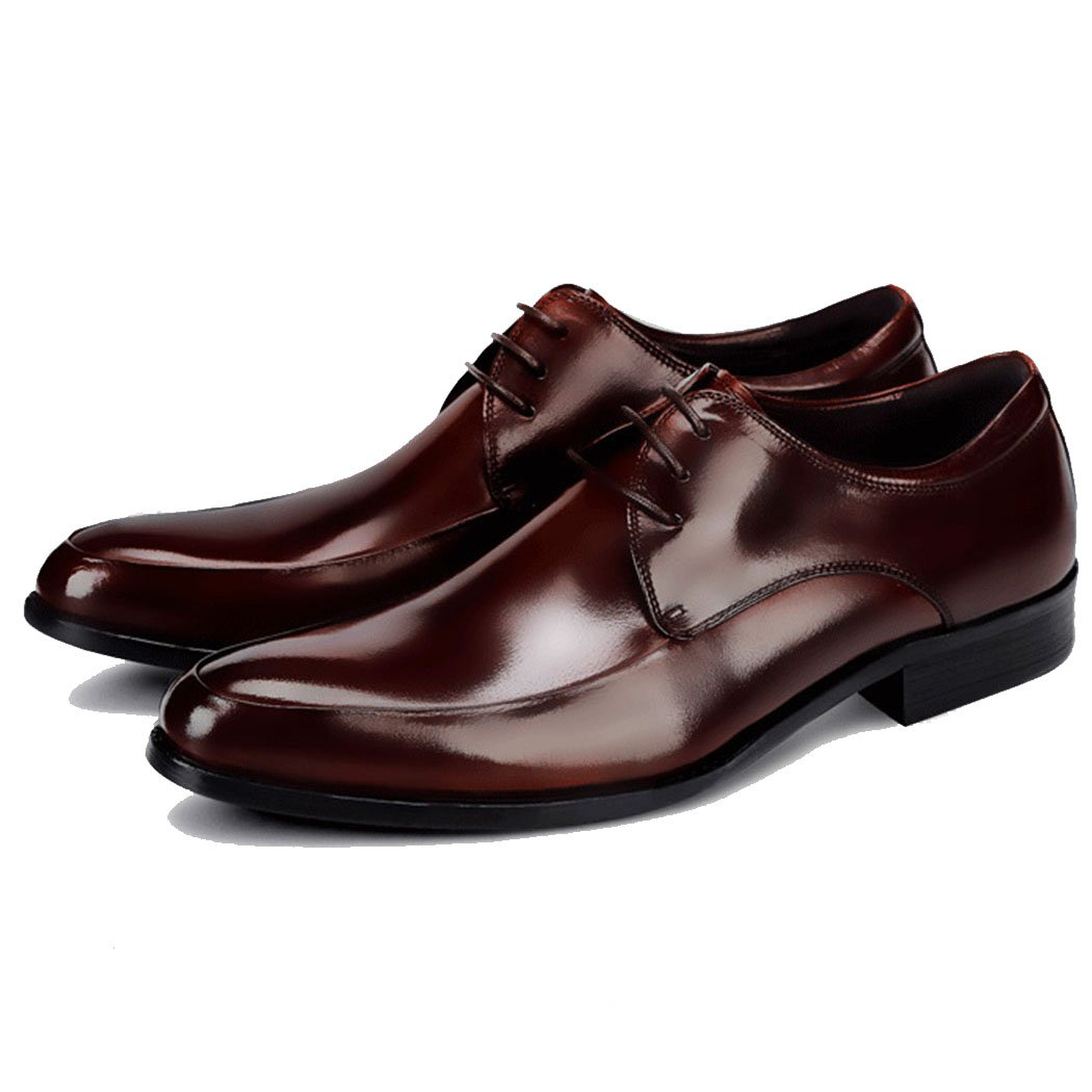 GAOLIXIA Zapatos Formales de los Hombres Zapatos de Negocios de Cuero Genuino Vestido Zapatos de Banquete de Boda Zapatos Casuales Británicos de Gran Tamaño 37-46 (Color : Borgoña, Tamaño : 46) 46|Borgoa