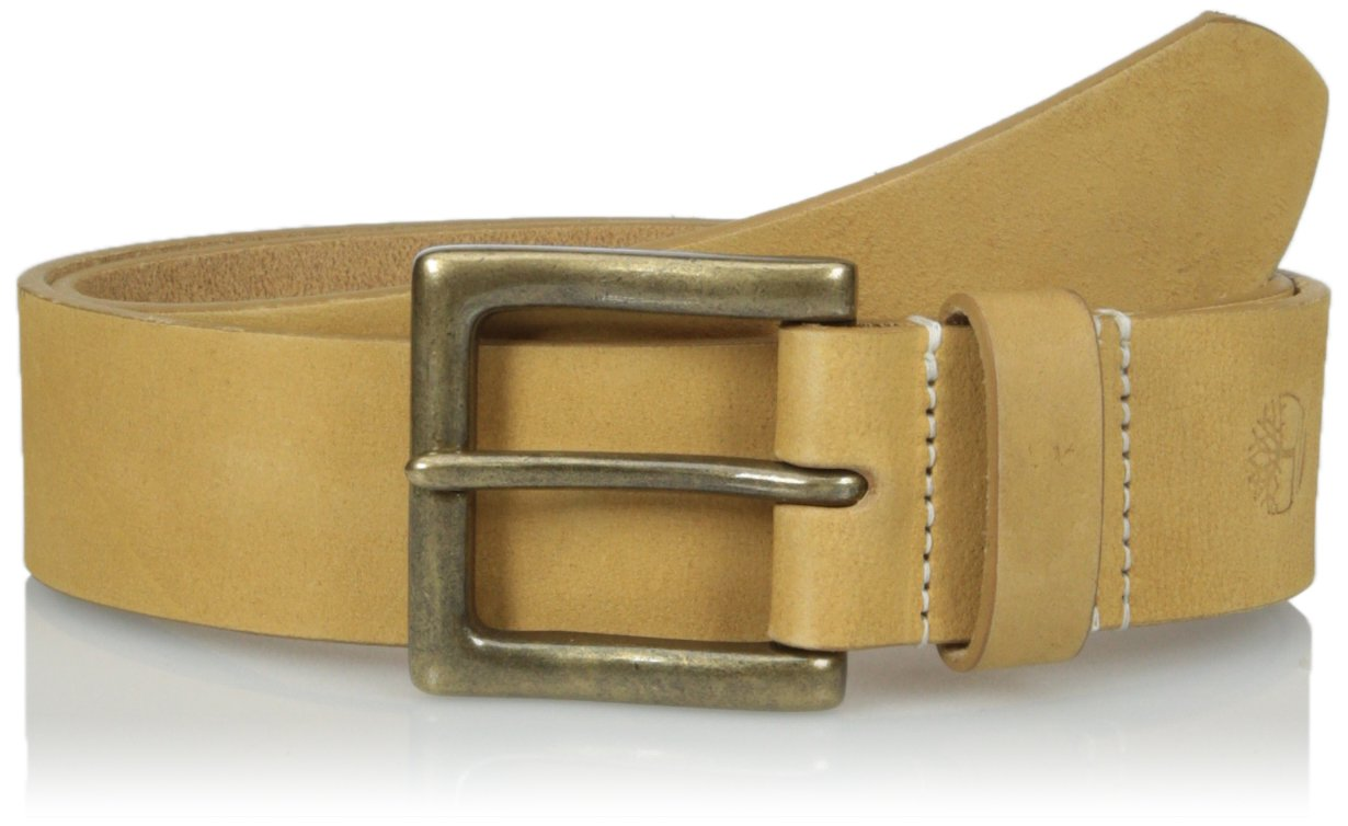 Timberland Men's 38 MM Boot Leather Belt, Wheat, 42