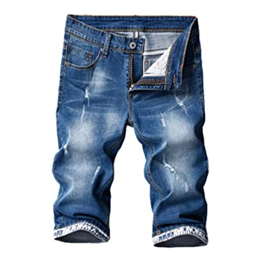 USA billig verkaufen Top Qualität riesiges Inventar CTOOO Herren 3/4 Denim Jeans Shorts Stretch Sport Hosen ...