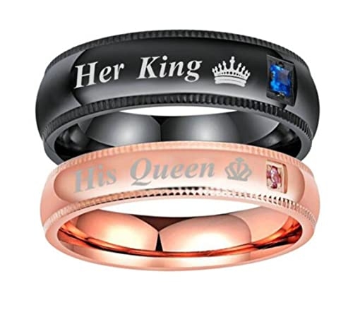 da2043a7e6 2Pcs His Queen Her King Wedding Band Ring Set, Stainless Steel Couples  Valentine Love Gift