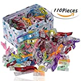 Image of RAGNAROS Multipurpose Sewing Clips For Quilting Crafting With Tin Box Assorted Colors 110 Pack 2 Size100 Small 10 Large