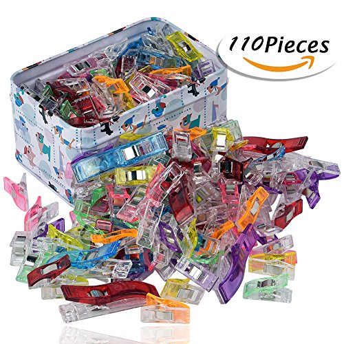 RAGNAROS Multipurpose Sewing Clips For Quilting Crafting With Tin Box Assorted Colors 110 Pack 2 Size100 Small 10 Large Image