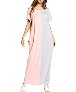 ae5cc63ebdb Qianliniuinc Casual Women Muslim Plus Size Loose Long Robe Gowns Arabic  Jalabiya Robe (M-