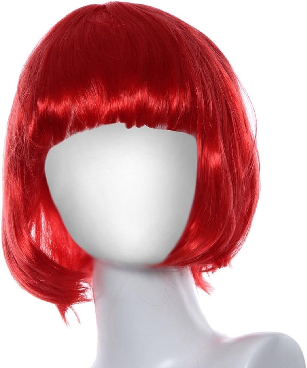 red Shensee Masquerade Small Roll Bang Short Straight BOBO Hair Wig