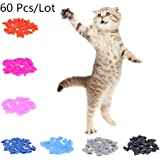 60pcs Soft Cat Pet Nail Caps Claw Control Paws off with Adhesive Glue Size XS S M L
