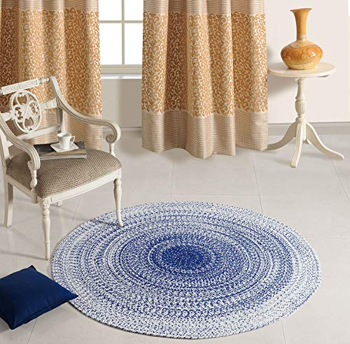 Aztocratic Arizona Granite Collection, Fully Reversible Round Braided Rug Hand Woven Area Rugs 100% Cotton Carpet for Bedroom Living Room High Traffic Areas (5 Feets Round, Blue and - Rug Blues Winter Braided