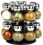 16 REVOLVING PLASTIC KITCHEN SPICE RACK STAND GLASS JARS PURPLE BLACK GREEN (Black)