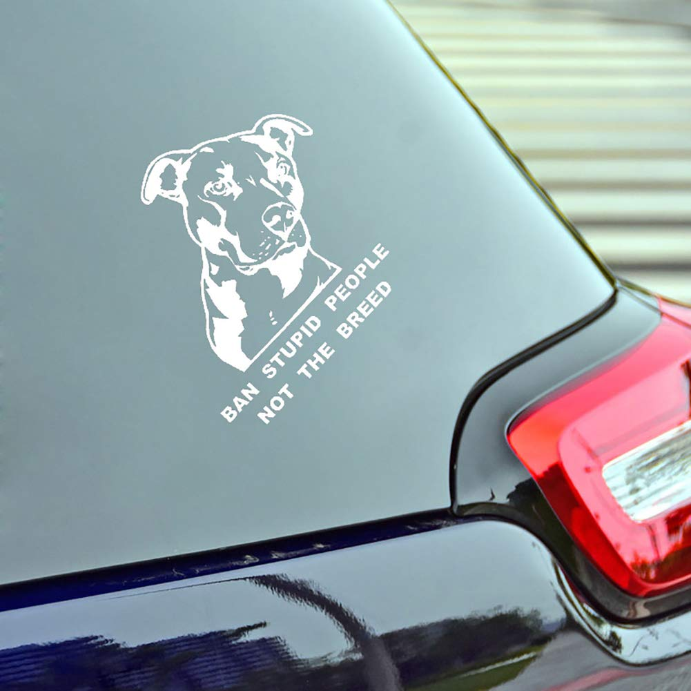 Black LAPUTA Car Sticker External Decoration Car Sticker Ban Stupid People Not The Breed Bulldog Car Motorcycle Sticker Decal Decoration