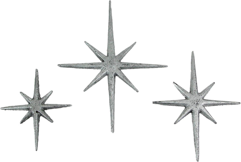 Zeckos Set of Three Metallic Silver Cast Iron 8 Pointed Atomic Starburst Wall Hangings Mid Century Modern Stars