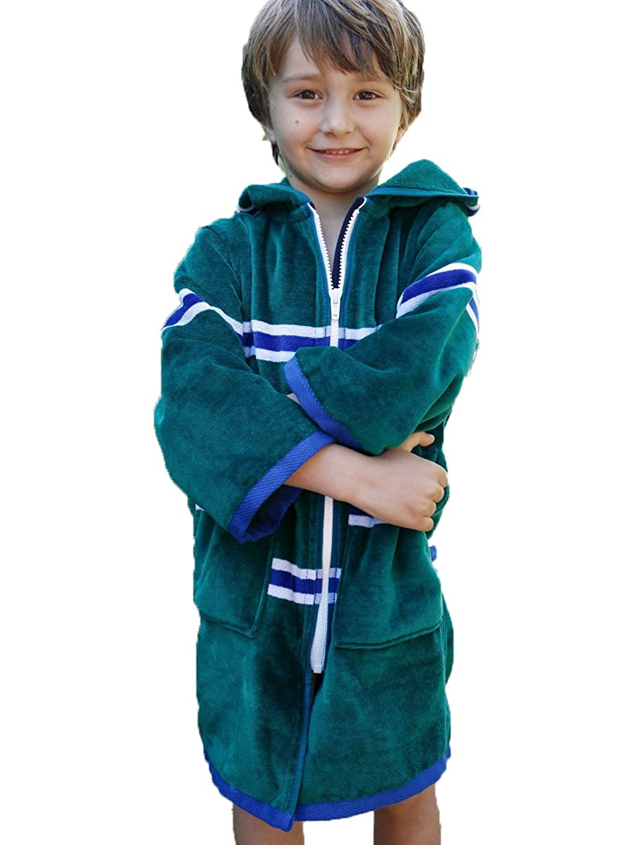 Terry Rich Luxe Swim Beach Robes for Boys Deep Double Pockets Zipper Seams Hood Extra Thick and Soft Cover Up 100/% Cotton