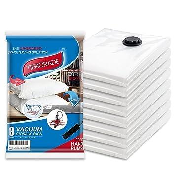 Vacuum Storage Bags Tiergrade 8 Pack JUMBO Triple Seal Turbo Valve
