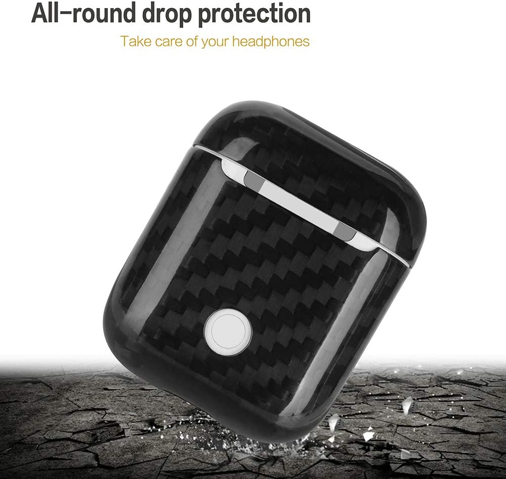 Genuine Carbon Fiber Protective for AirPods Charging Case Black Ultra Slim Shockproof Full Protector Cover and Skin For Apple AirPods 1 /& AirPods 2 Accessories Kits Only for Wired Charging