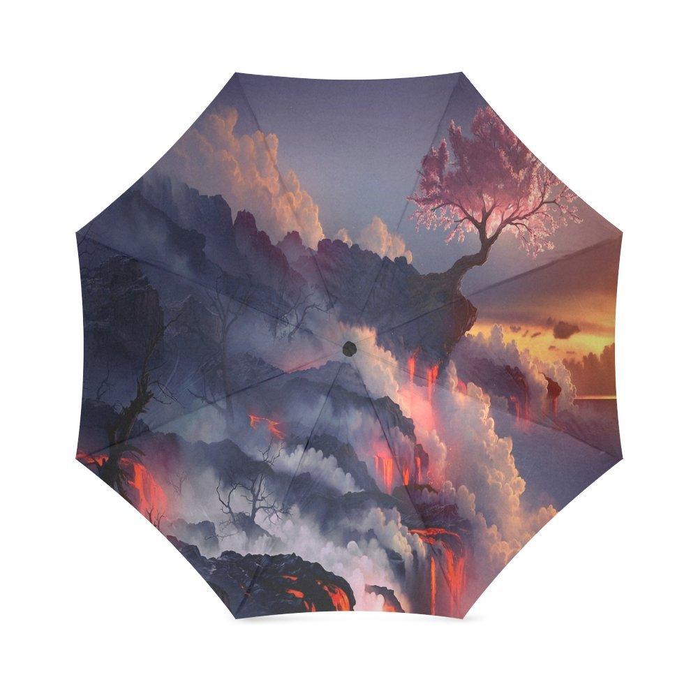 Custom Mountain Scene Compact Travel Windproof Rainproof Foldable Umbrella