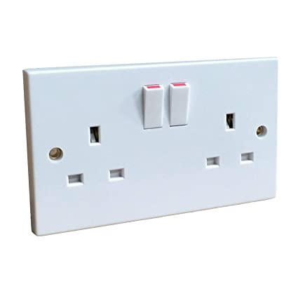 White Double Wall Socket 2 Gang / Square Edge Electric Wall ... on
