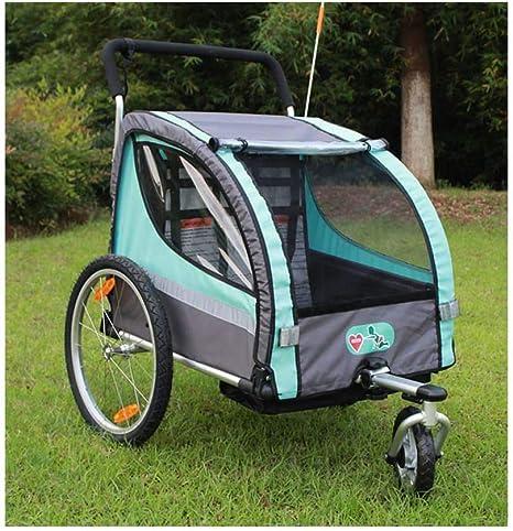 HJTLK Remolque de Bicicleta para niños 2 en 1 Cochecito para niños con suspensión Giratorio 360 ° Remolque de Bicicleta para niños Transporte Buggy Carrier para 2 niños: Amazon.es: Deportes y aire libre