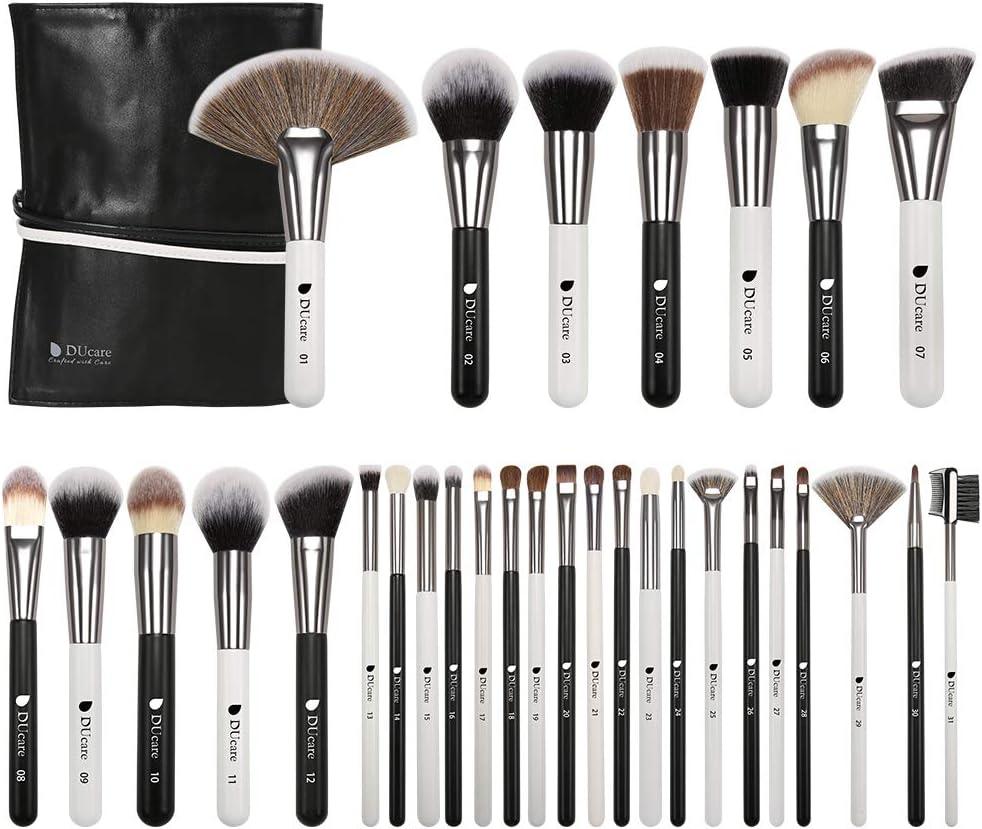 DUcare Brochas de Maquillaje Profesional Con Bolsa de Cosméticos 31 piezas Premium Synthetic Set de Pinceles de maquillaje para Artista de Maquillaje(Estilo panda)