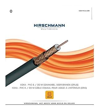 Hirschmann KOKA6-20-BL - Cable coaxial (20 m, Gris, 75 Ω, 1 pieza(s)): Amazon.es: Electrónica
