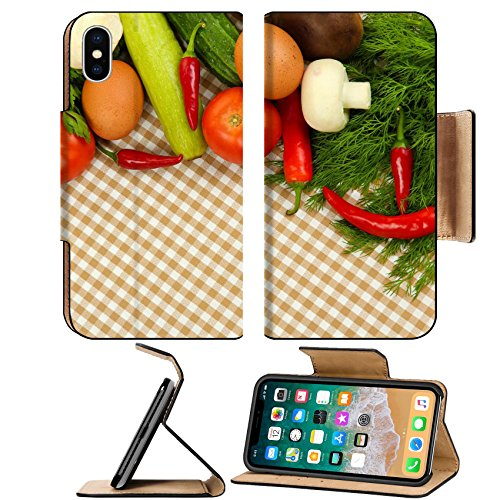 MSD Premium Apple iPhone X Flip Pu Leather Wallet Case Cooking concept Vegetables on tablecloth background IMAGE ()