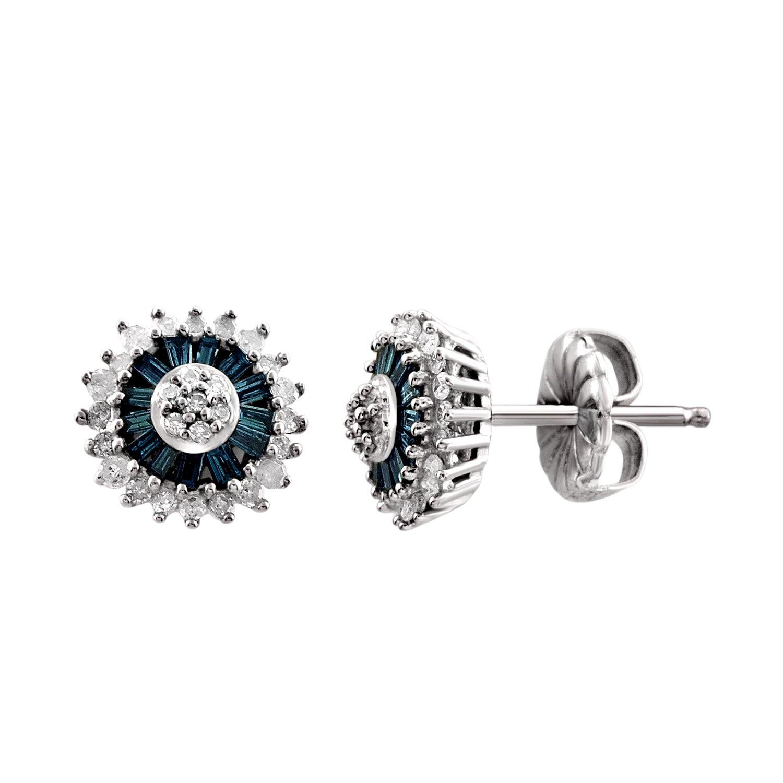 1/2 CTW Genuine Blue & White Diamond Sterling Silver Earring