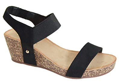 ba38928e8 Bella Marie Norie Women Platform Wedge Low Heel Elastic Strap Band  Slingback Sandal Black 5.5