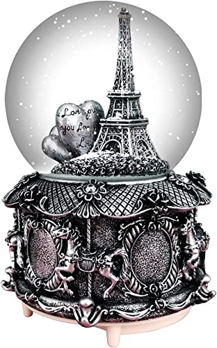 HIKEL Paris Snow Musical Globes Retro Eiffel Tower and Carousel Base Water Globe for Birthday Gifts Kids Girls Gift Creative Desktop Decoration Silver Silver