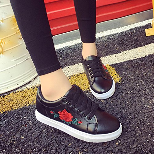 Women's Casual Shoes, Xjp Embroidery Flat Shoes Trainers Black + White