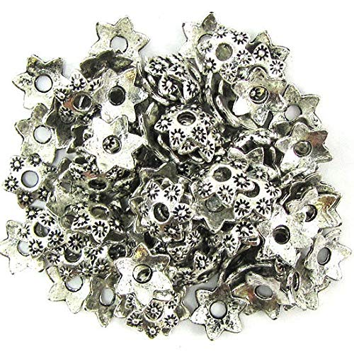 (104 9mm Silver Plated Pewter Bead caps findings)