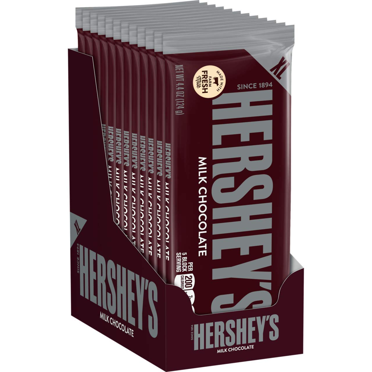 HERSHEY'S Chocolate Candy Bars, Extra Large, 4.4 Ounce Bar (Pack of 12) by HERSHEY'S