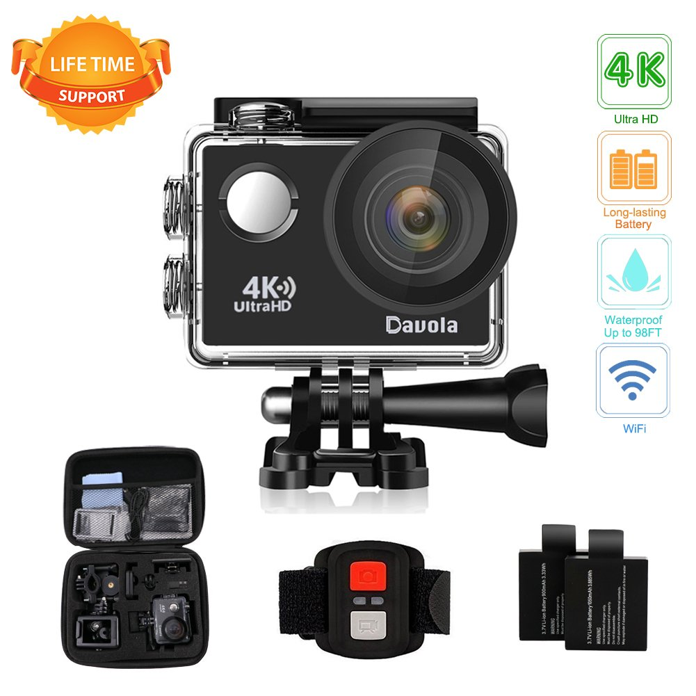 Action Camera Waterproof 4K Underwater Camera Video Sport Camera WiFi Davola 16MP Ultra HD with Remote Control 170° Wide Angle Lens 2 Rechargeable Batteries and Mounting Accessories Kit by Davola