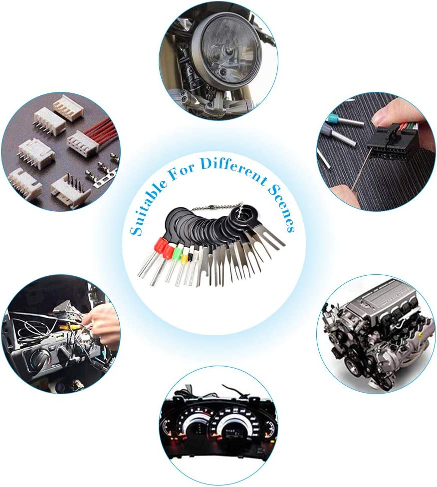 18Pcs Car Pin Extractor Electrical Wiring Crimp Connectors Key Extractor Connector Depinning Tool Set for Car Repair Gobesty Auto Terminals Removal Tool