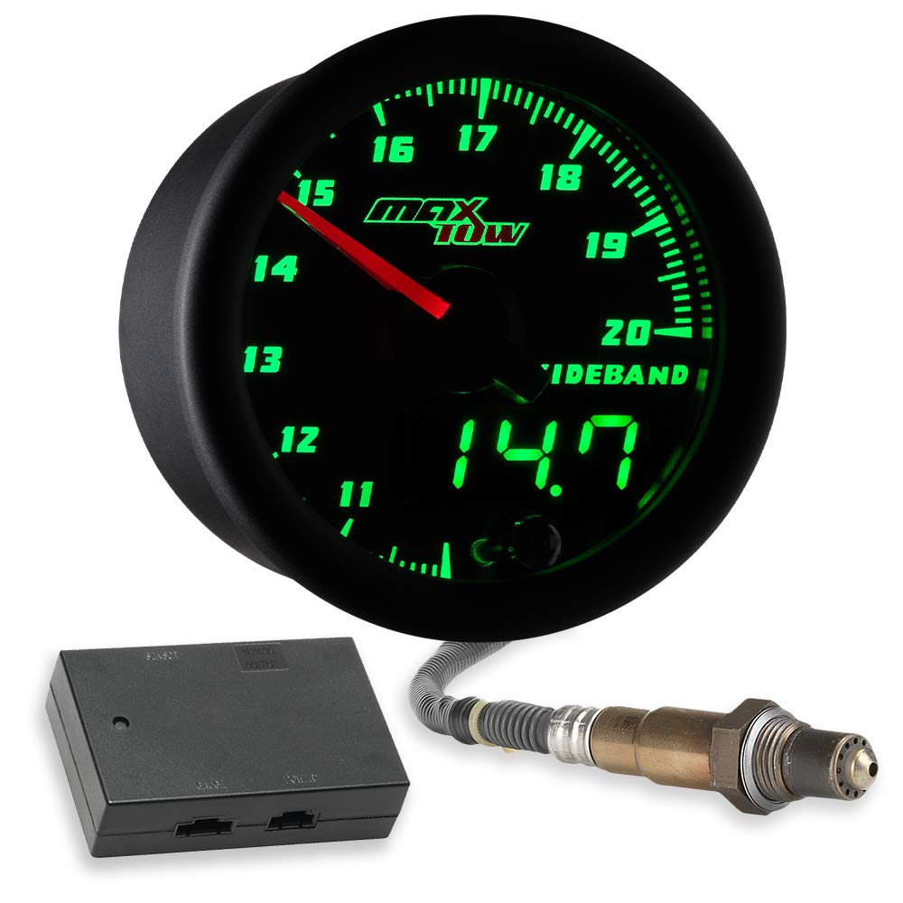 MaxTow Double Vision Wideband Air/Fuel Ratio AFR Gauge Kit - Includes Oxygen Sensor, Data Logging Output & Weld-in Bung - Black Gauge Face - Green LED Dial - Analog & Digital Readouts - 2-1/16'' 52mm